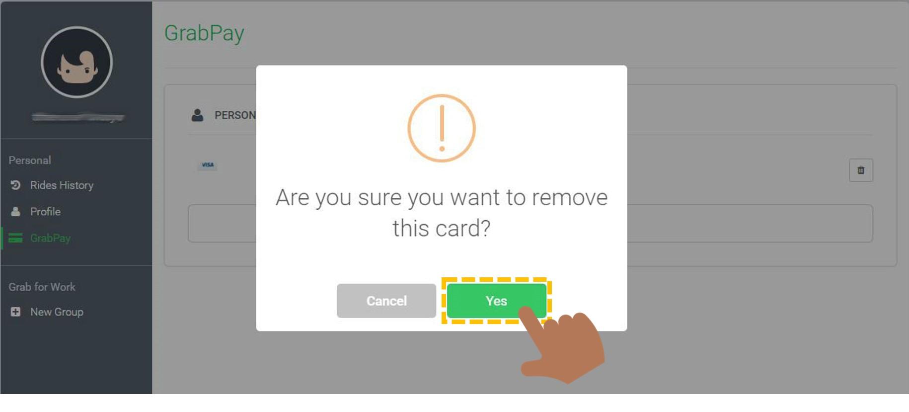 Bagaimana cara menghapus rincian kartu kredit/debit di Grab - Passenger